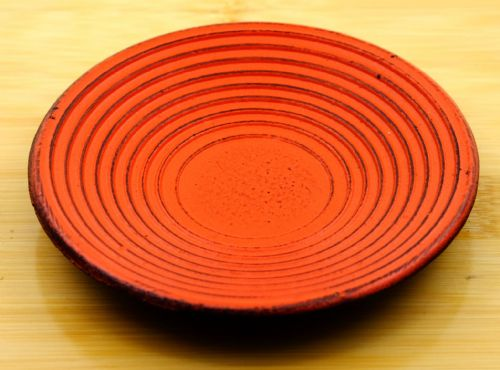 Zen ripple sunset red coaster for Cast Iron cup  10cm diameter